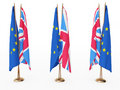 Flags of EU and the Great Britain Royalty Free Stock Photos