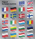 Flags of Europe Countries Vector Set Royalty Free Stock Photo