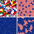 Flags of european union members and usa four vector seamless backgrounds with Stock Image