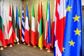 Flags of european union states detail shot with the member Stock Photos