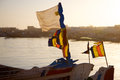 Flags on a fisher boat in saint louis senegal the harbour of Stock Photography
