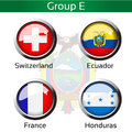 Flags football brazil group e switzerland ecuador france honduras illustration Royalty Free Stock Images