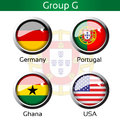 Flags football brazil group g germany portugal ghana usa illustration Stock Image