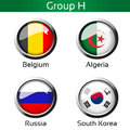 Flags football brazil group h belgium algeria russia south korea illustration Royalty Free Stock Photography