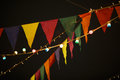 Flags with garlands in night Royalty Free Stock Photo