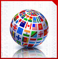 Flags Globe on Binary Code Background Royalty Free Stock Images