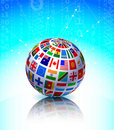 Flags Globe on Binary Code Background Stock Image