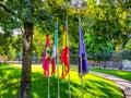 flags of Guernika, Euskadi, Spain and Europe next to the tree of Gernika, symbol of freedom
