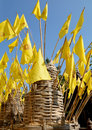 Flags of lanna photo tradition using in the north thailand in particular yellow flag embroidered around the temple and Stock Image