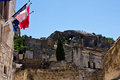 Flags of Les Baux de Provence Stock Photography