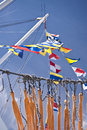 Flags maritime scene in port of kiel germany Royalty Free Stock Photos