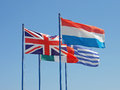 Flags national of holland great britain italy greece Royalty Free Stock Photography
