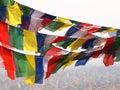 Flags in nepal the sky over the kathmandu Stock Photos