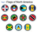 Flags of North America.Flags 2. Royalty Free Stock Photo