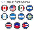 Flags of North America. Flags 3. Royalty Free Stock Photo