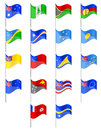 Flags of oceania countries vector illustration isolated on white background Stock Photos