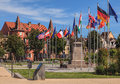 Flags on Place Rapp square in Colmar, France