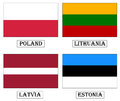 Flags poland lithuania latvia estonia baltic countries vector image Stock Photos