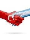 Flags Republic of Turkey, Argentina countries, partnership friendship handshake concept.