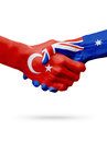 Flags Republic of Turkey, Australia countries, partnership friendship handshake concept.