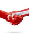 Flags Republic of Turkey, Austria countries, partnership friendship handshake concept.