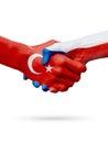 Flags Republic of Turkey, Czech Republic countries, partnership friendship handshake concept.