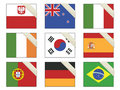 Flags with ribbons Stock Photo