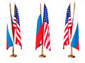 Flags of Russia and the United State Stock Photo