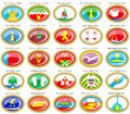 Flags of the russian cities central federal district set icons Stock Images