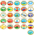 Flags of the russian cities north caucasian federal district and southern federal district set icons Stock Image