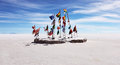 Flags on the salt flat national bolivian altiplano Royalty Free Stock Photography