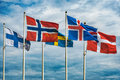 Flags of Scandinavia Royalty Free Stock Photo