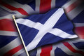 Flags of scotland and uk scottish independence the flag the united kingdom the union flag the flag Royalty Free Stock Images