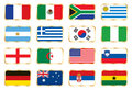 Flags set. Football World cup (groups A B C D) Royalty Free Stock Photo