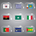 Flags set of the world beautiful vector illustration in glass Stock Image