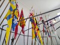 Flags on show at Etal Castle on the Borders
