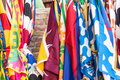 Flags of the Siena contrade districts Palio festival background, in Siena, Tuscany, Italy Royalty Free Stock Photo