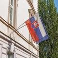 Flags of Slovakia and European Union in Bratislava.