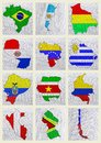 Flags of South American countries Royalty Free Stock Photo