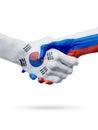 Flags South Korea, Russia countries, partnership friendship handshake concept.