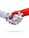 Flags South Korea, Switzerland countries, partnership friendship handshake concept.