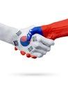 Flags South Korea, Taiwan countries, partnership friendship handshake concept.