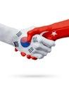 Flags South Korea, Turkey countries, partnership friendship handshake concept.