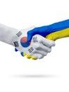 Flags South Korea, Ukraine countries, partnership friendship handshake concept.