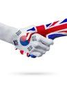 Flags South Korea, United Kingdom countries, partnership friendship handshake concept.