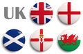 Flags of united kingdom british isles the countries Royalty Free Stock Photography