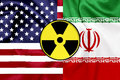 Flags of United States and Iran with Nuclear icon Royalty Free Stock Photo