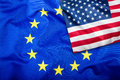 Flags of the USA and the European Union. American Flag and EU Flag. Flag inside stars. World flag concept Royalty Free Stock Photo