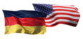 Flags of the USA and Germany, isolated Royalty Free Stock Photography