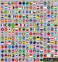 Flags of the world circular shape flat vector illustration set april Royalty Free Stock Photography